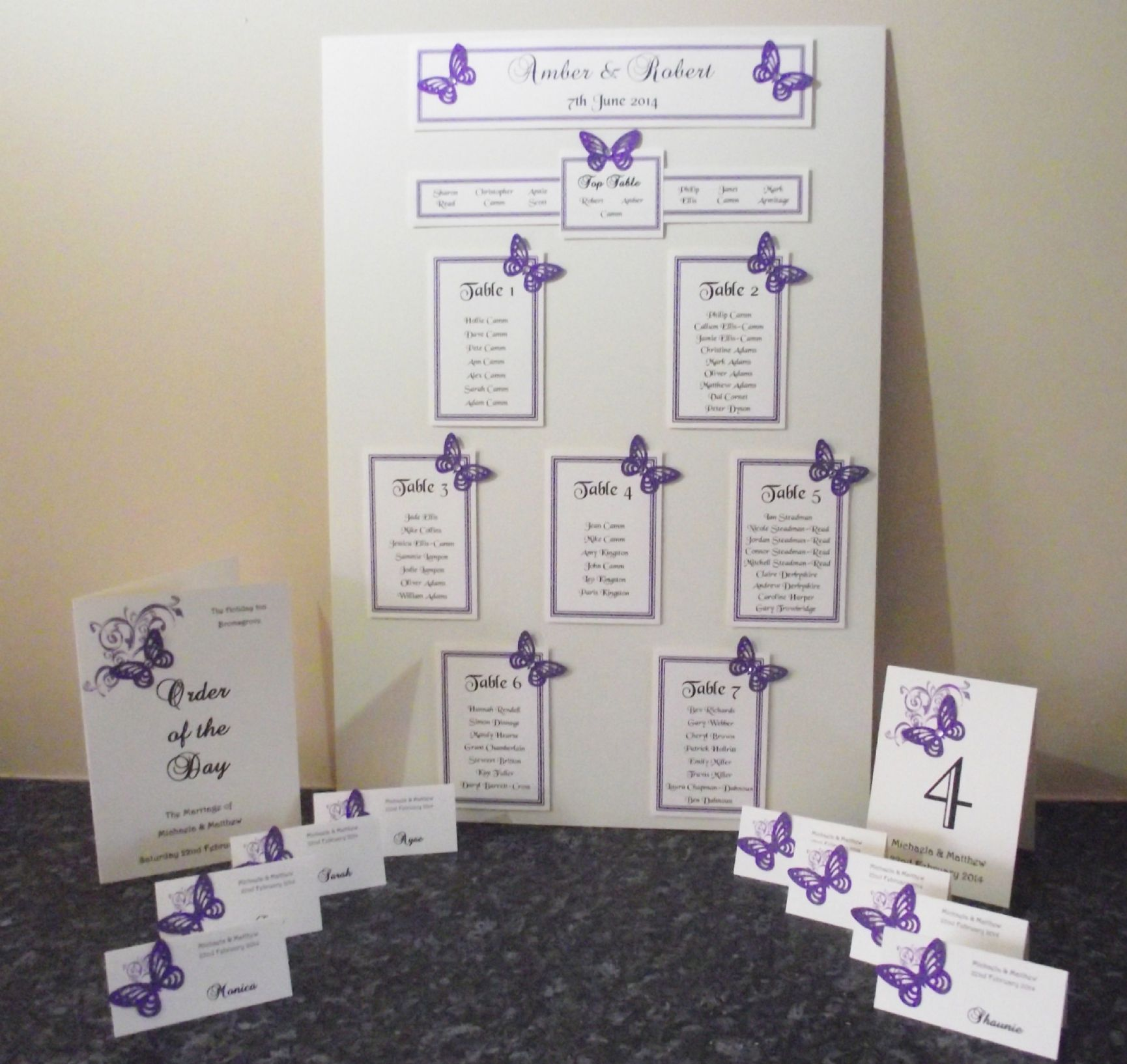 Table Numbers Names Double Sided Personalised 6 Or 5 Top